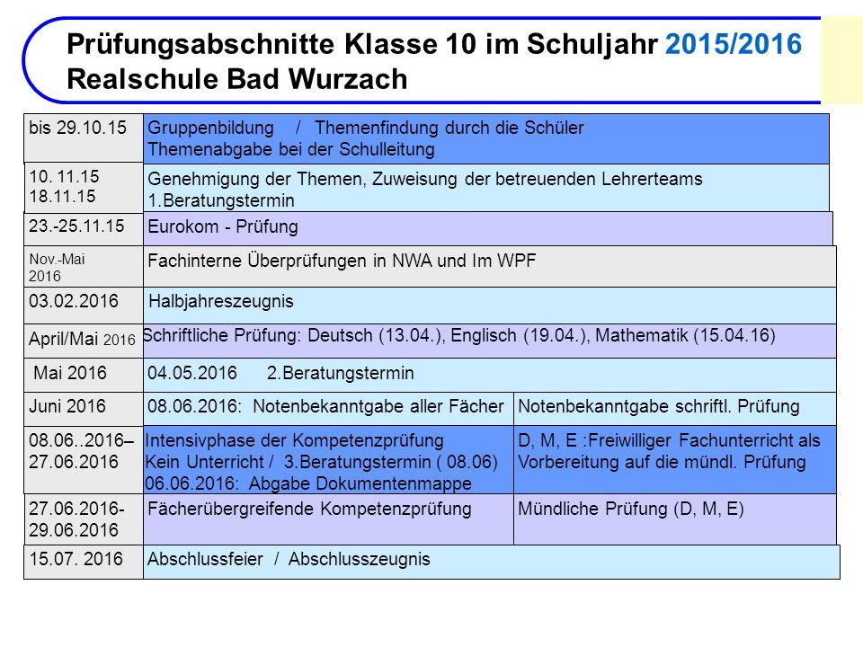 Prüfungsabschnitte Klasse 10 im Schuljahr 2015/2016 Realschule Bad Wurzach