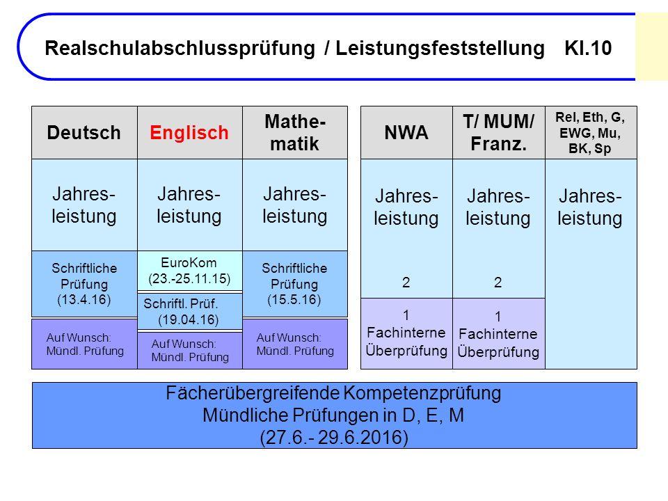Realschulabschlussprüfung / Leistungsfeststellung Kl.10