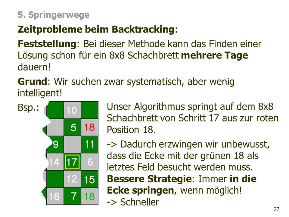 Zeitprobleme beim Backtracking: