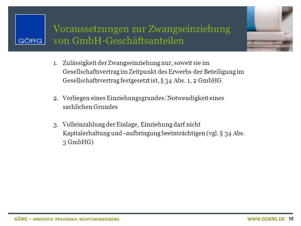 Voraussetzungen zur Zwangseinziehung von GmbH-Geschäftsanteilen