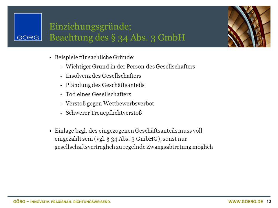Einziehungsgründe; Beachtung des § 34 Abs. 3 GmbH