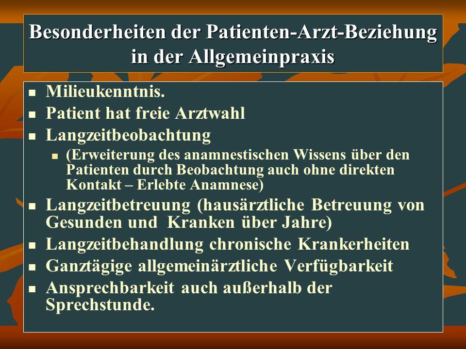 Besonderheiten der Patienten-Arzt-Beziehung in der Allgemeinpraxis