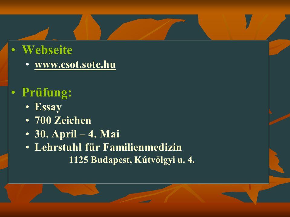 Webseite Prüfung: www.csot.sote.hu Essay 700 Zeichen