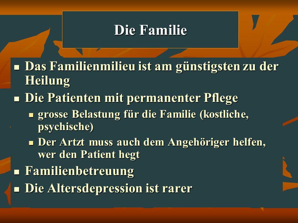 Die Familie Das Familienmilieu ist am günstigsten zu der Heilung