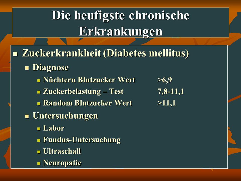 Die heufigste chronische Erkrankungen