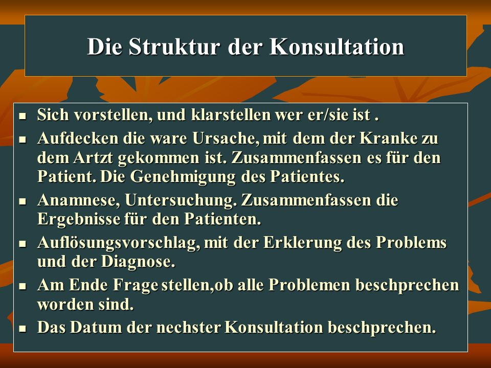 Die Struktur der Konsultation