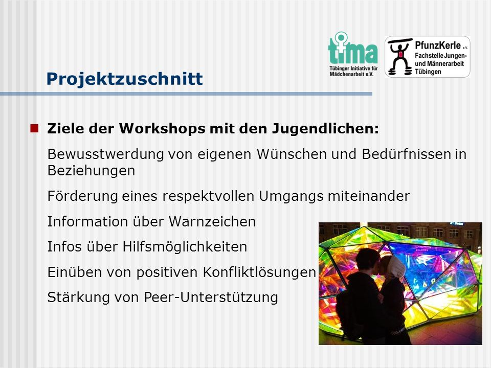 Projektzuschnitt Ziele der Workshops mit den Jugendlichen: