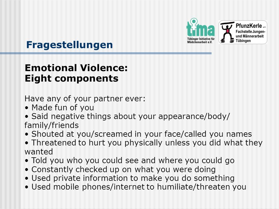 Fragestellungen Emotional Violence: Eight components