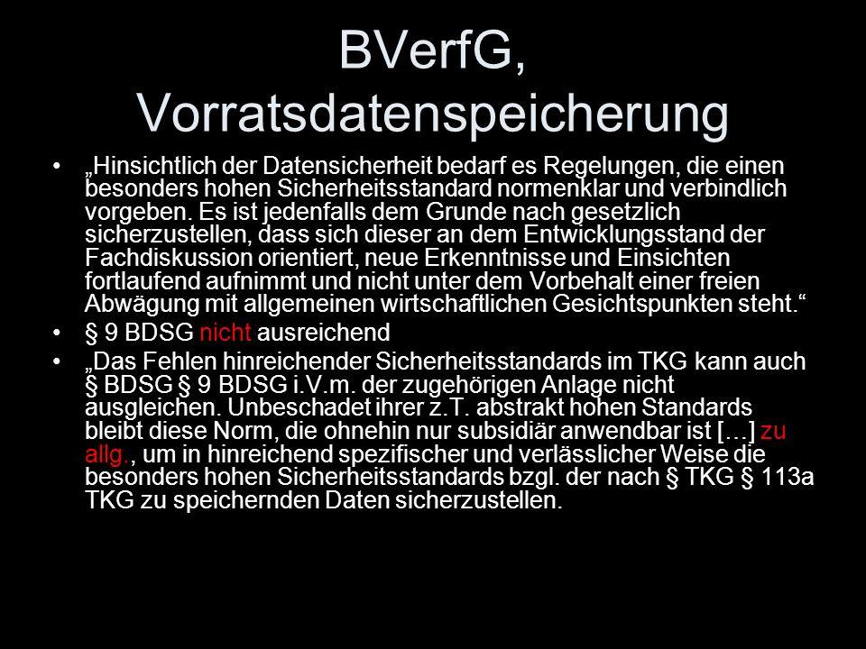 BVerfG, Vorratsdatenspeicherung