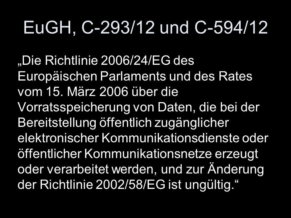 EuGH, C‑293/12 und C‑594/12