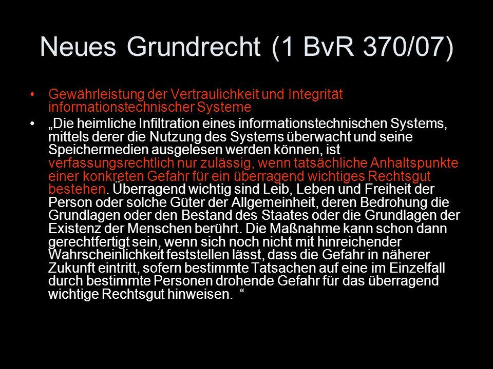 Neues Grundrecht (1 BvR 370/07)