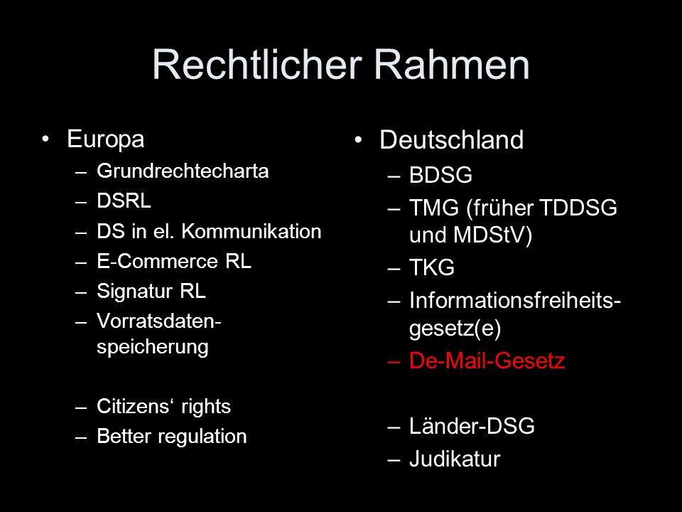 Rechtlicher Rahmen Deutschland Europa BDSG
