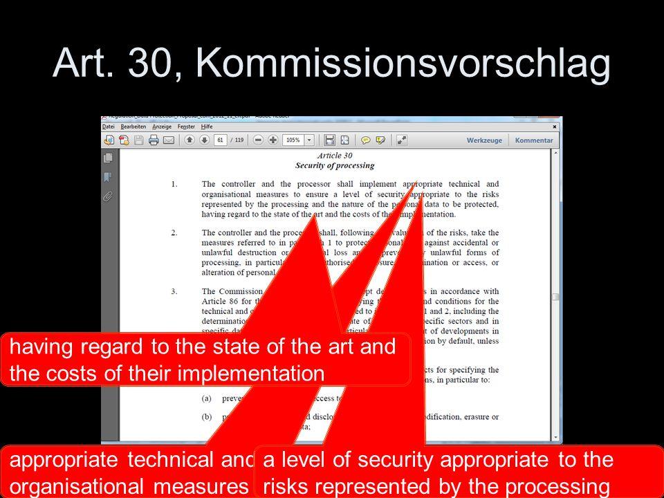 Art. 30, Kommissionsvorschlag