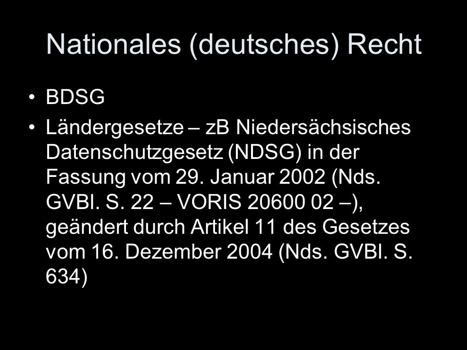 Nationales (deutsches) Recht