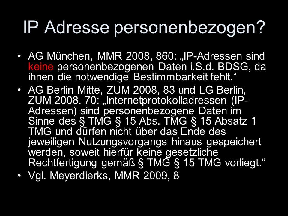 IP Adresse personenbezogen