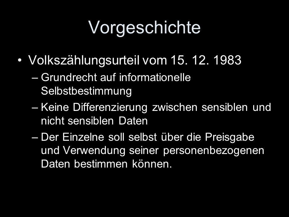 Vorgeschichte Volkszählungsurteil vom 15. 12. 1983