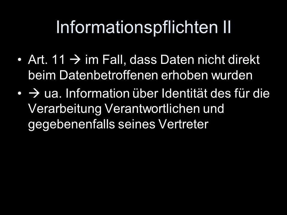 Informationspflichten II