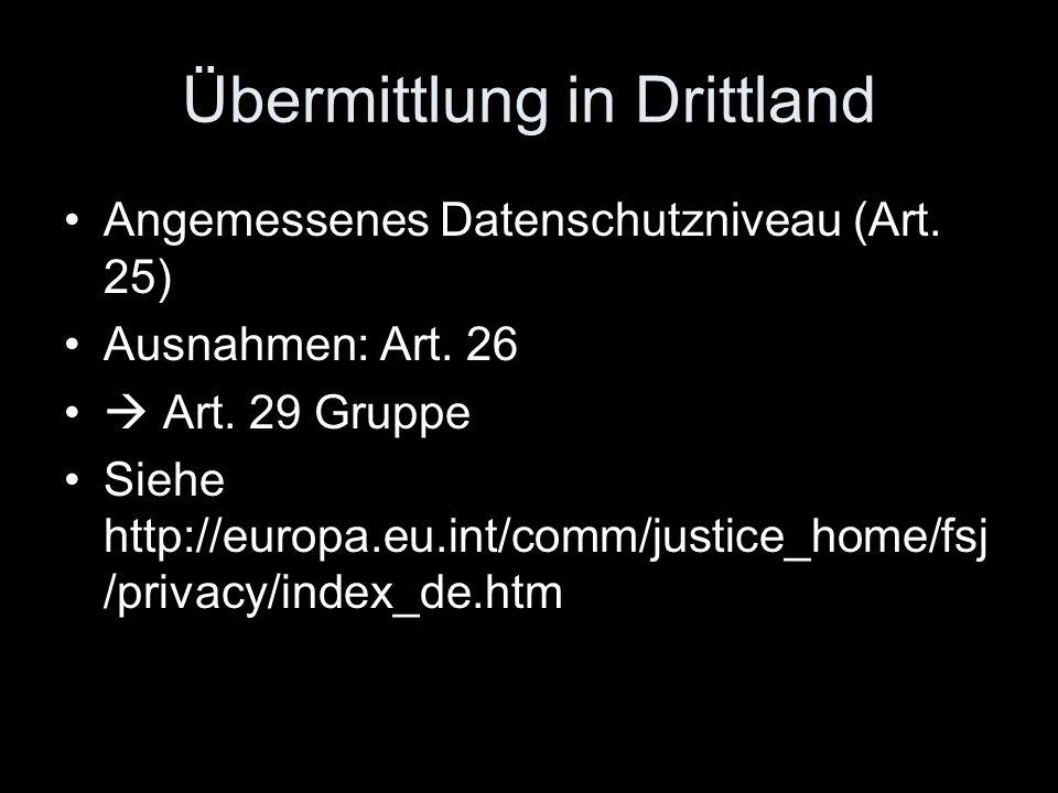 Übermittlung in Drittland