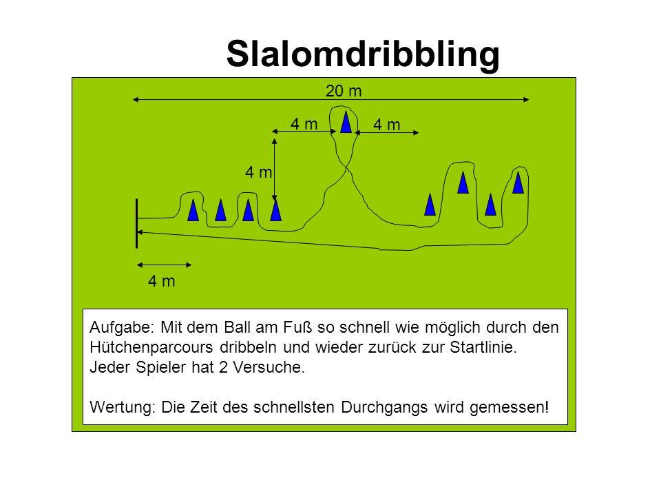 Slalomdribbling 20 m 4 m 4 m 4 m 4 m