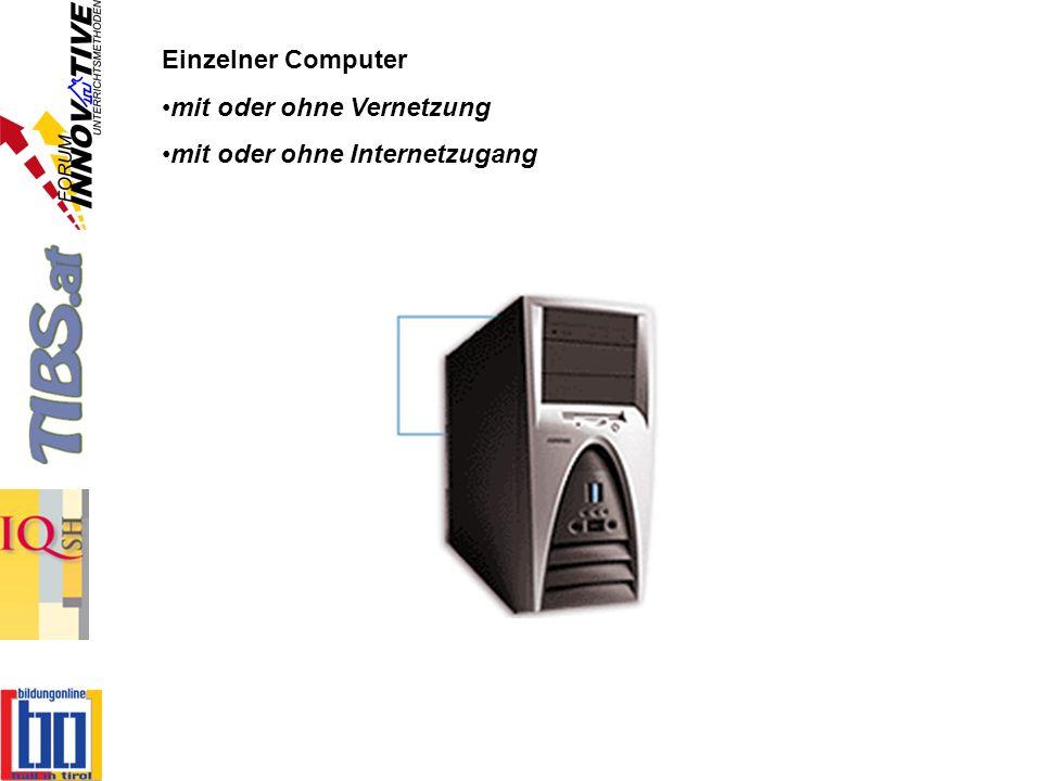 Einzelner Computer mit oder ohne Vernetzung mit oder ohne Internetzugang