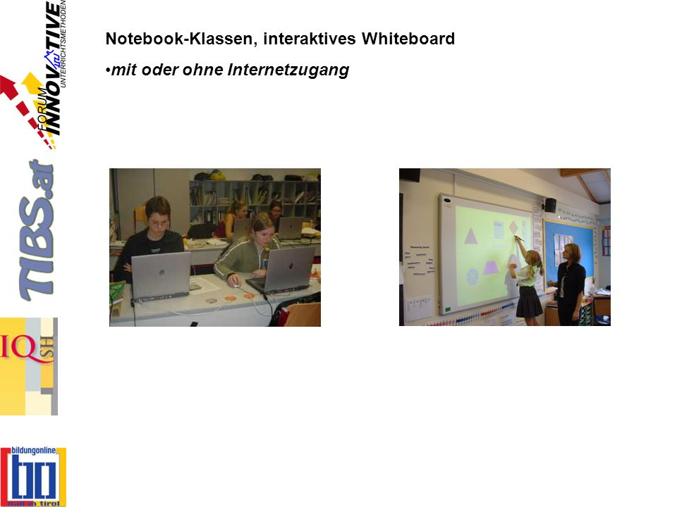 Notebook-Klassen, interaktives Whiteboard