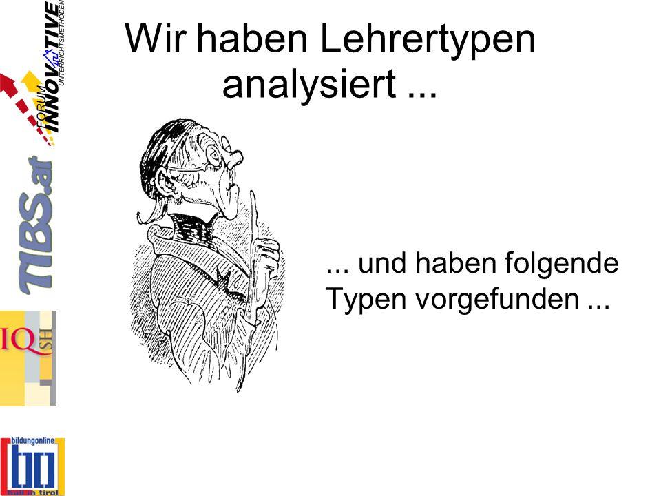 Wir haben Lehrertypen analysiert ...