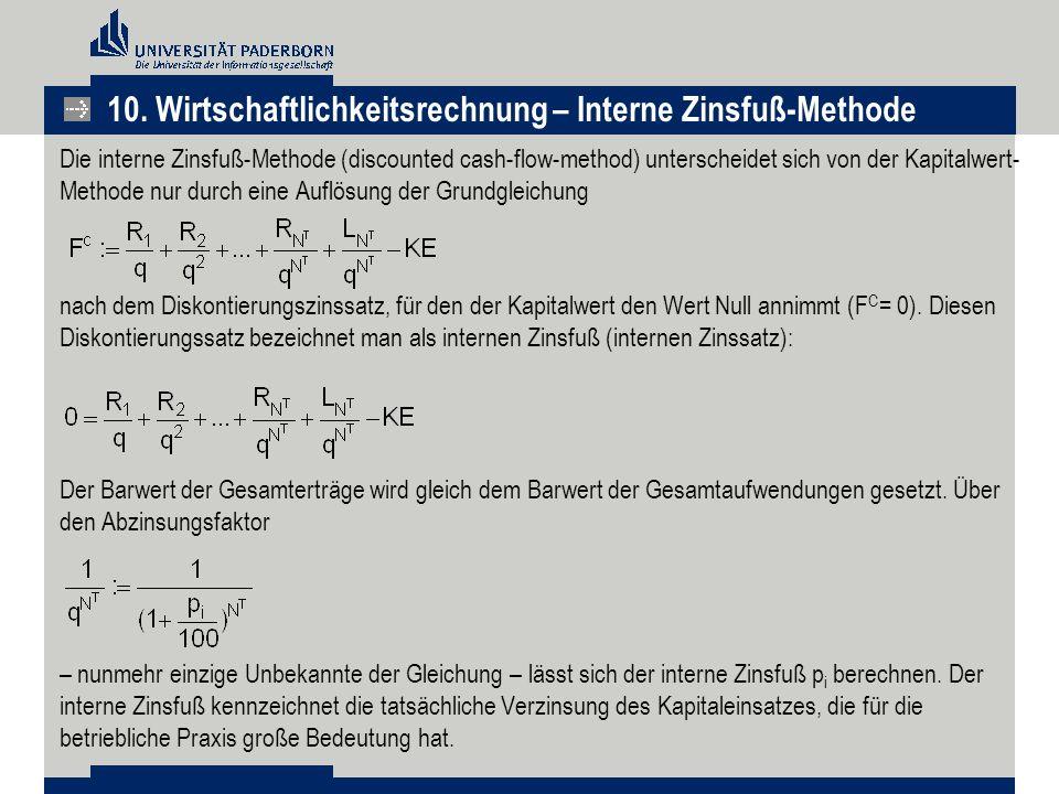 10. Wirtschaftlichkeitsrechnung – Interne Zinsfuß-Methode