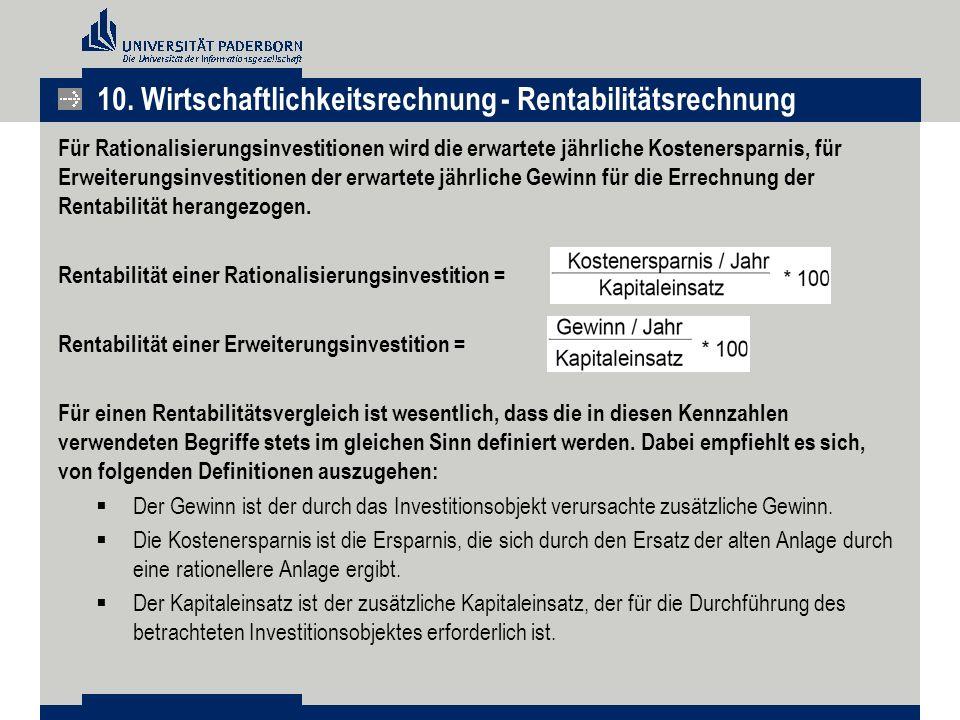 10. Wirtschaftlichkeitsrechnung - Rentabilitätsrechnung