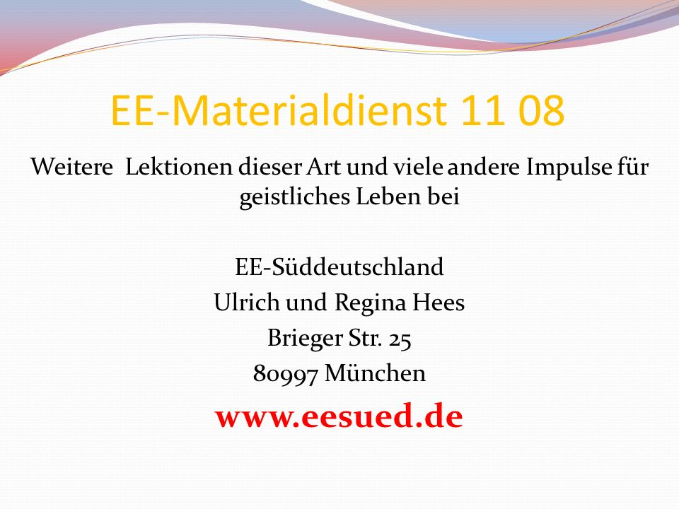 EE-Materialdienst 11 08 www.eesued.de