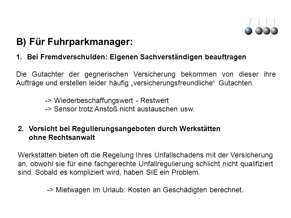B) Für Fuhrparkmanager: