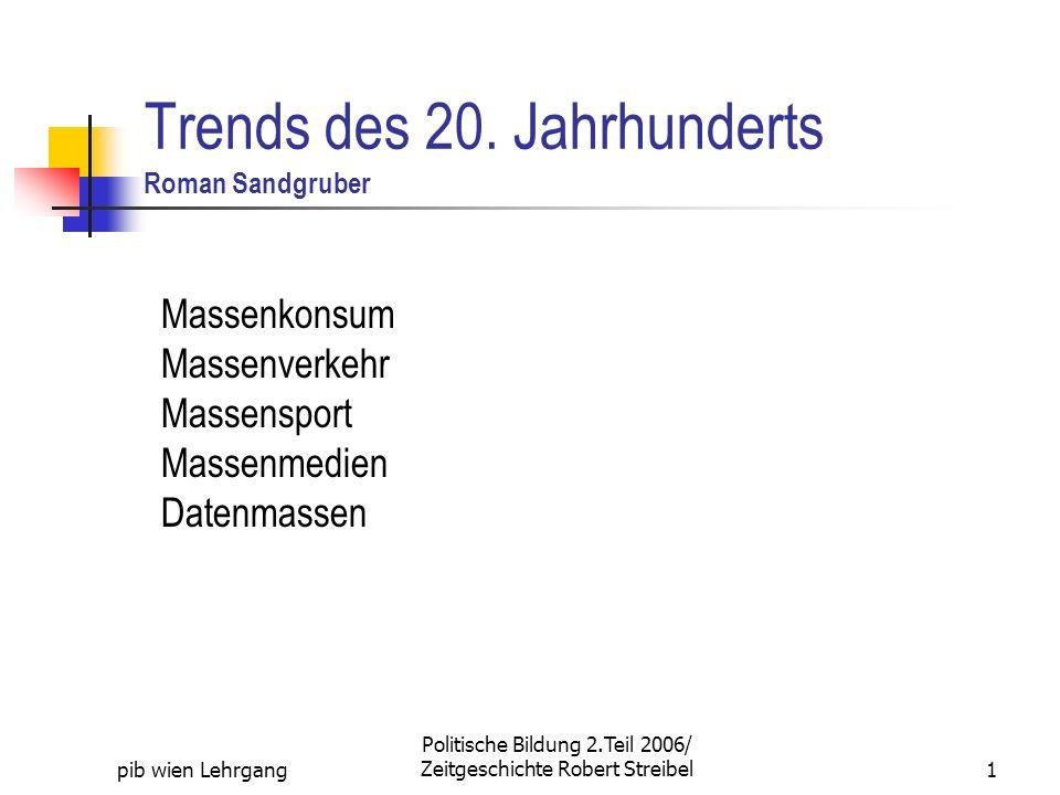 Trends des 20. Jahrhunderts Roman Sandgruber