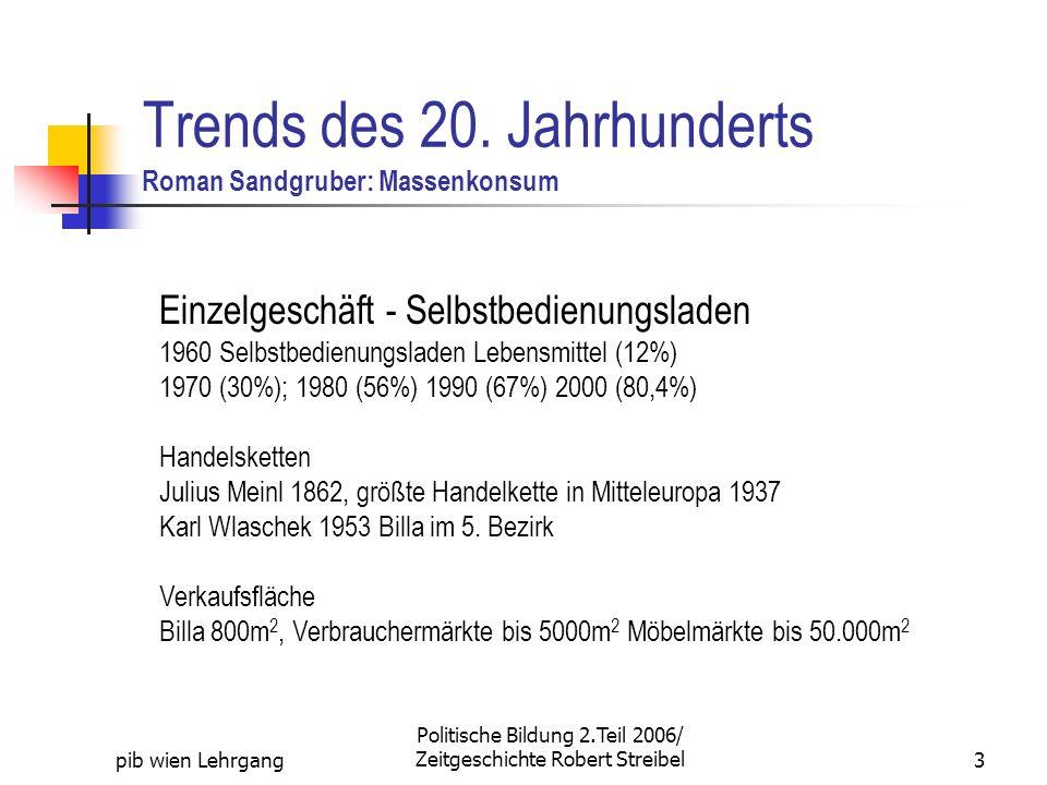 Trends des 20. Jahrhunderts Roman Sandgruber: Massenkonsum