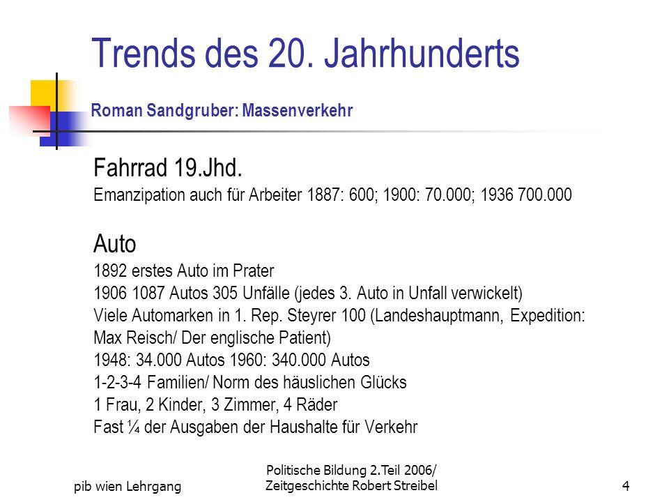 Trends des 20. Jahrhunderts Roman Sandgruber: Massenverkehr