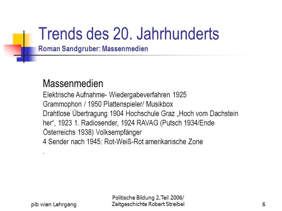 Trends des 20. Jahrhunderts Roman Sandgruber: Massenmedien