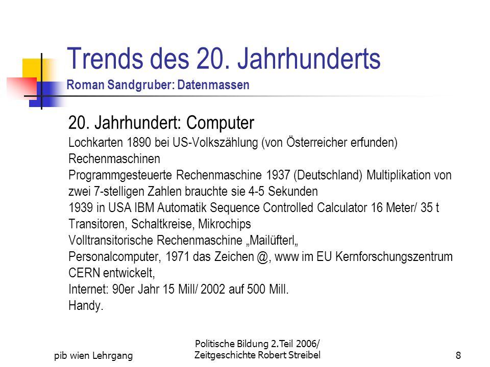 Trends des 20. Jahrhunderts Roman Sandgruber: Datenmassen