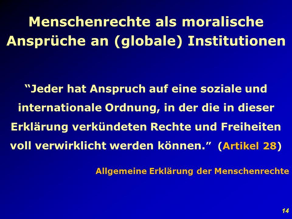 Menschenrechte als moralische Ansprüche an (globale) Institutionen