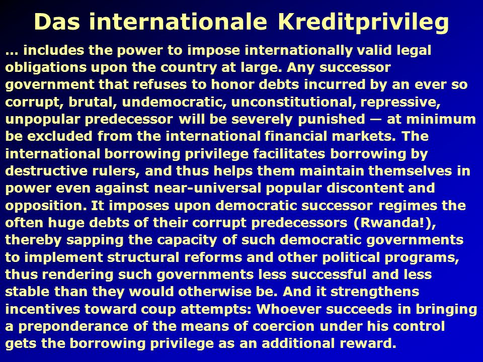 Das internationale Kreditprivileg
