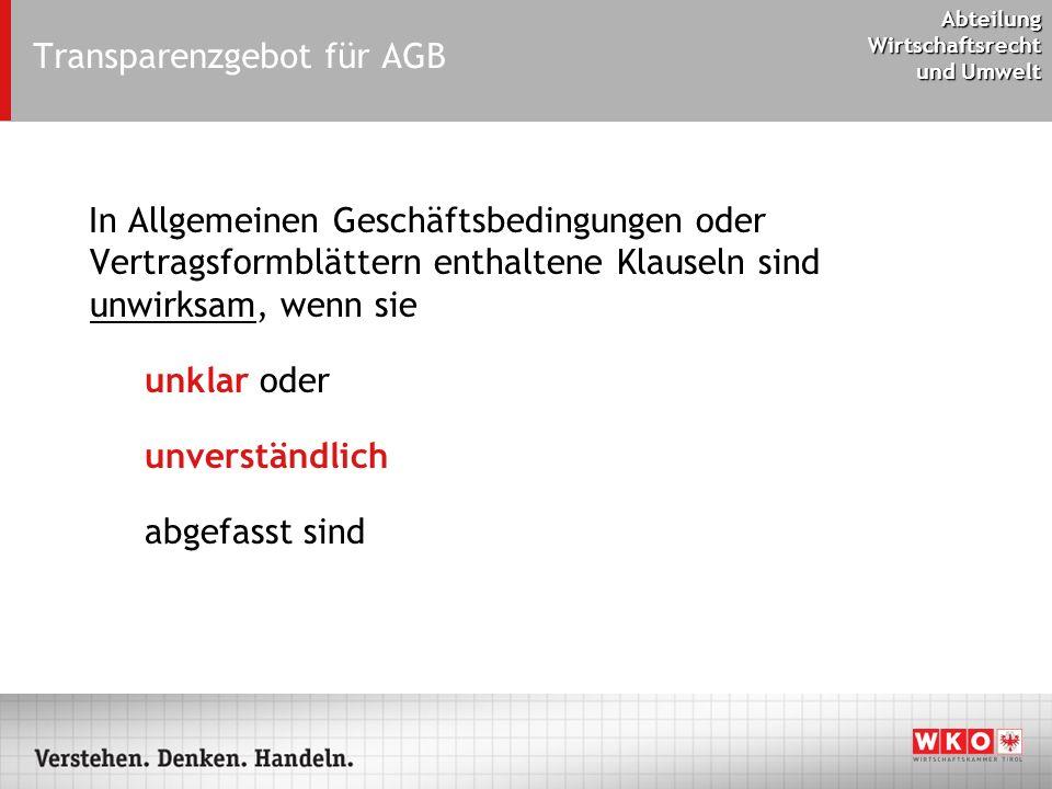 Transparenzgebot für AGB