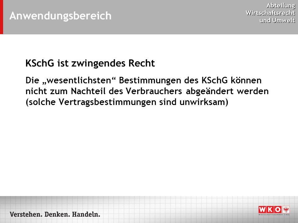 Anwendungsbereich KSchG ist zwingendes Recht