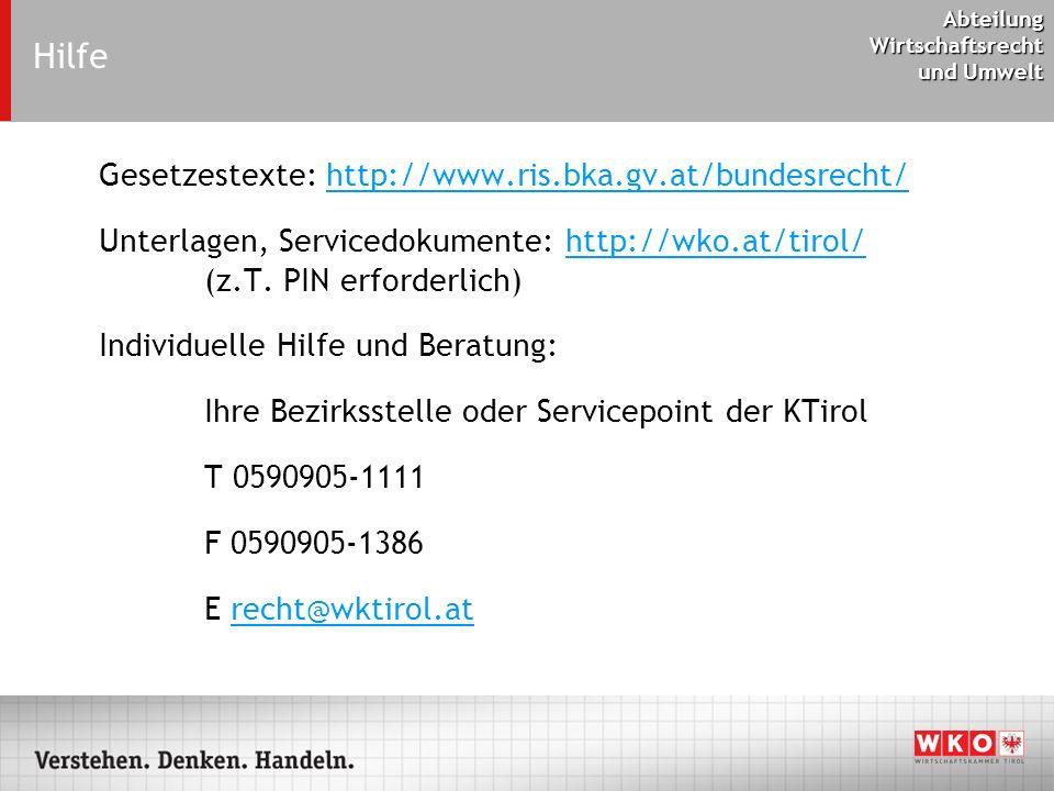 Hilfe Gesetzestexte: http://www.ris.bka.gv.at/bundesrecht/