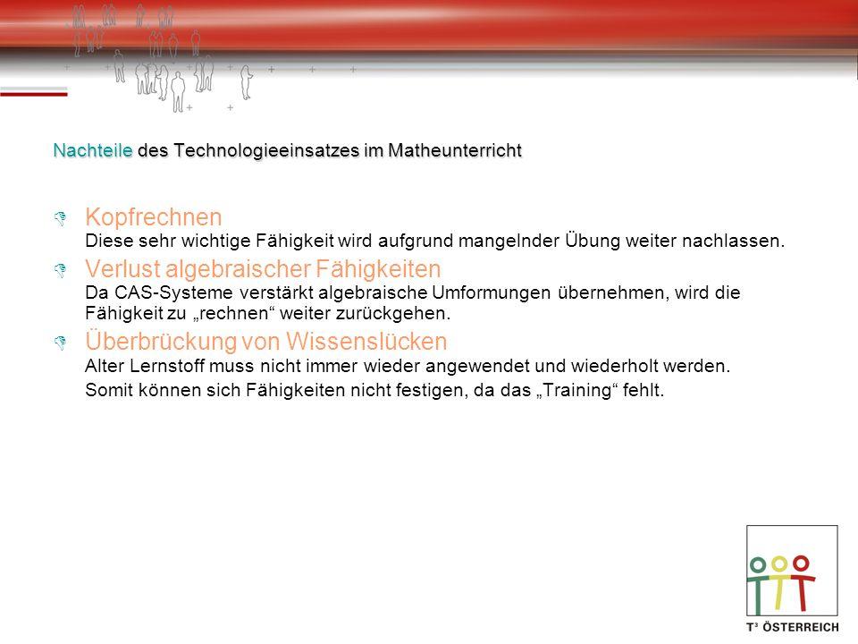 Nachteile des Technologieeinsatzes im Matheunterricht