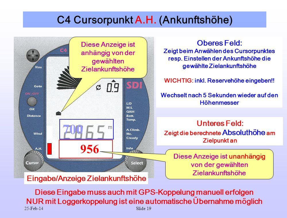 C4 Cursorpunkt A.H. (Ankunftshöhe)