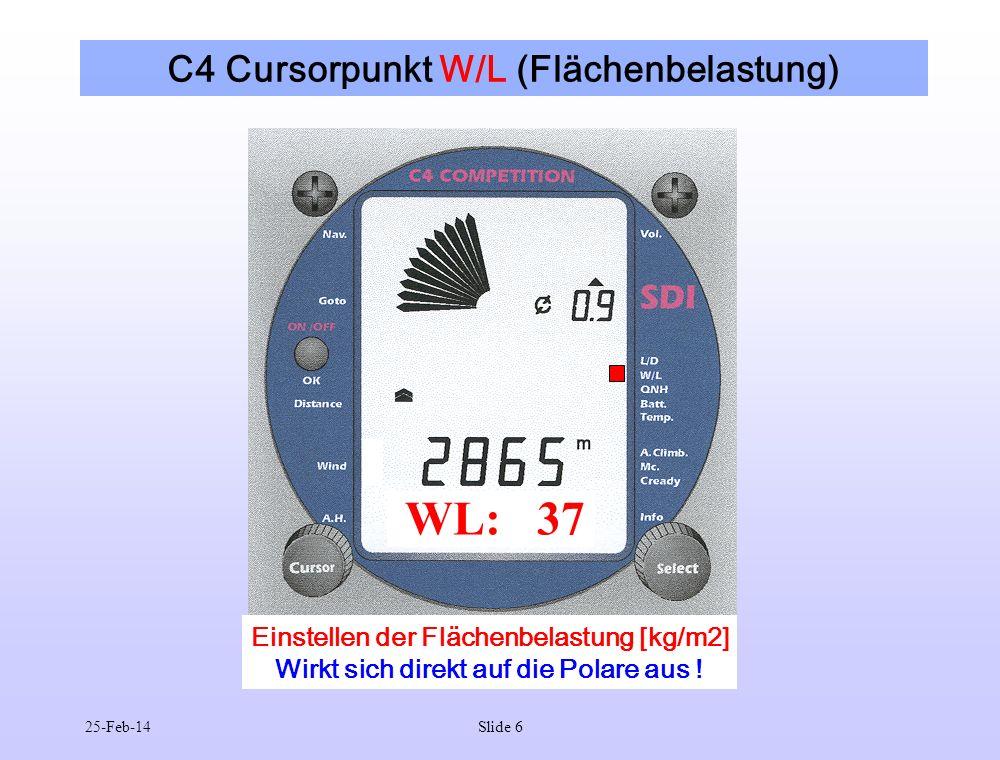 C4 Cursorpunkt W/L (Flächenbelastung)