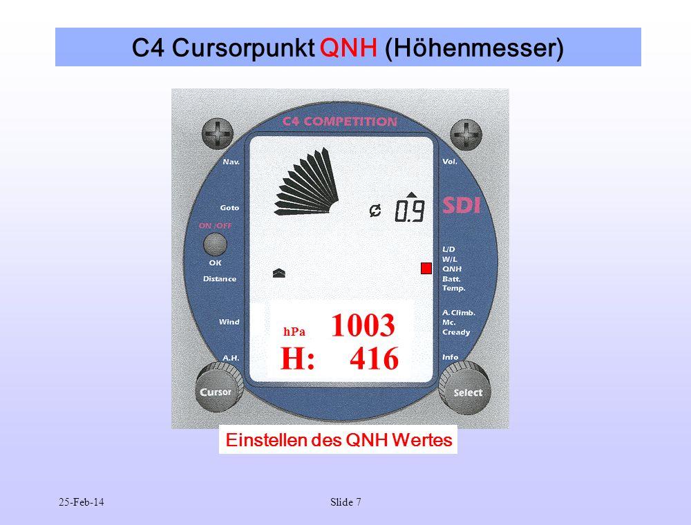 C4 Cursorpunkt QNH (Höhenmesser)