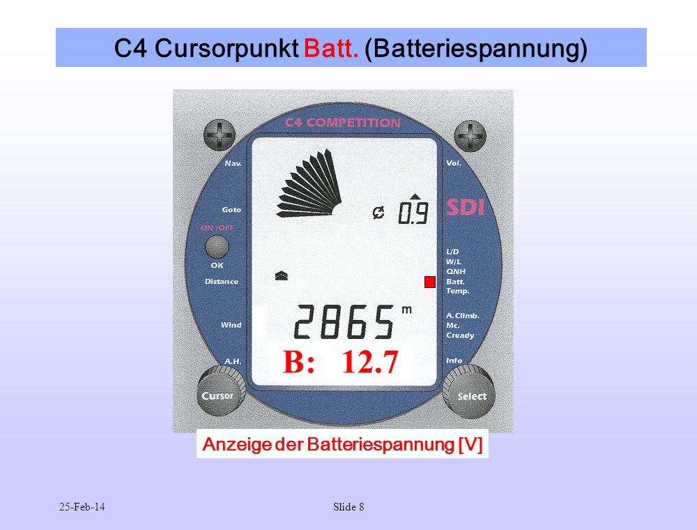 C4 Cursorpunkt Batt. (Batteriespannung)