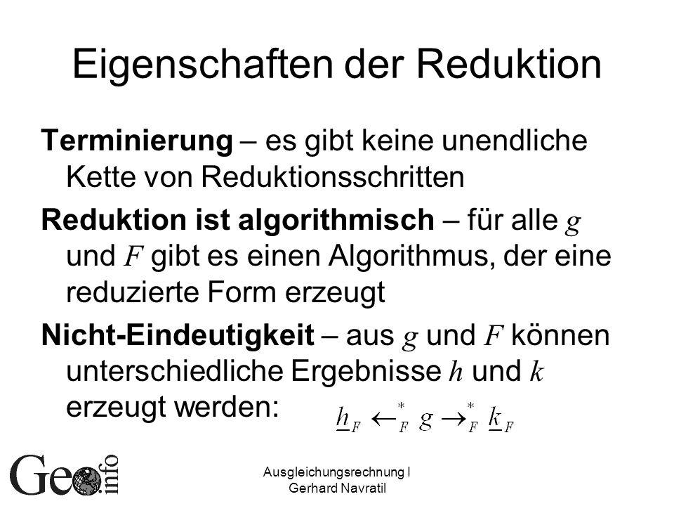 Eigenschaften der Reduktion