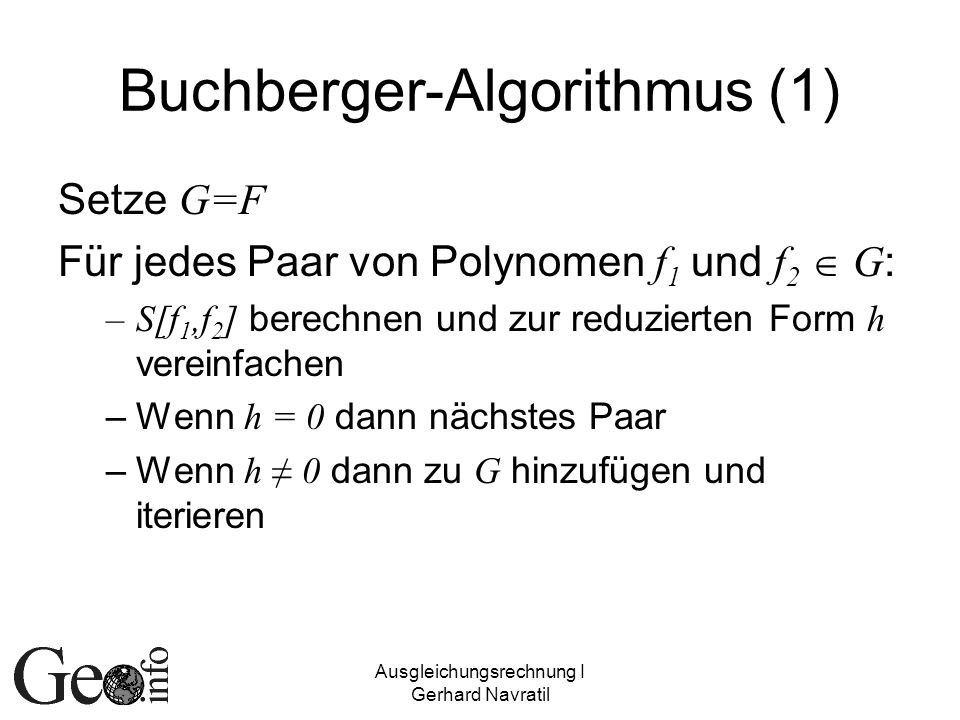 Buchberger-Algorithmus (1)