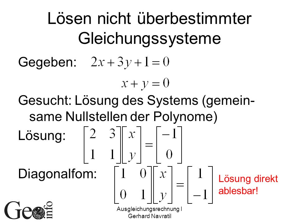 Lösen nicht überbestimmter Gleichungssysteme