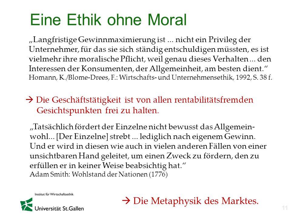 Eine Ethik ohne Moral  Die Metaphysik des Marktes.