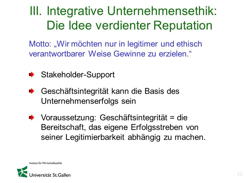 III. Integrative Unternehmensethik: Die Idee verdienter Reputation